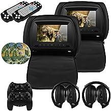 Mvpower 2 x 7'' Reposacabezas para coche Reproductor de DVD Multimedia Monitor pantalla LCD Color Negro con 2pcs Auriculares infrarrojos