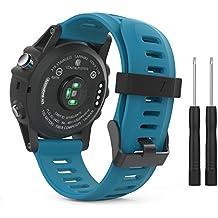 MoKo Garmin Fenix 3 Accesorios, Banda Reemplazo de Silicona Suave Deportiva con Herramientas para Garmin Fenix 3 / Fenix 3 HR Smart Watch - Azul