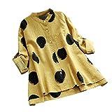 VEMOW Sommer Herbst Elegante Damen Plus Größe Dot Print Lose Baumwolle Casual Täglichen Party Strandurlaub Kurzarm Shirt Vintage Bluse Pulli(X1-Gelb, EU-48/CN-4XL)