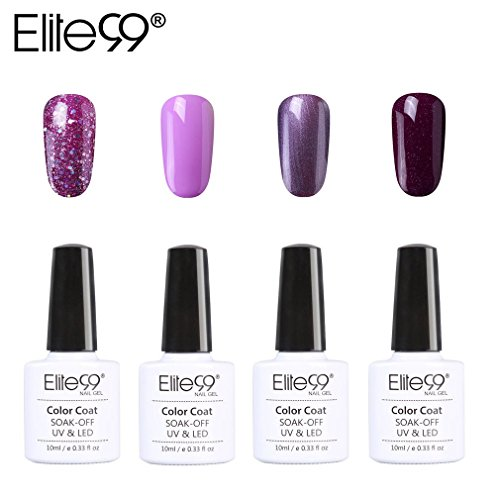 Vernis Semi permanent Elite99 Vernis à Ongles Gel UV LED Violet Soakoff 4pcs Kit Manicure Pour Ongle 10ml - Kit006