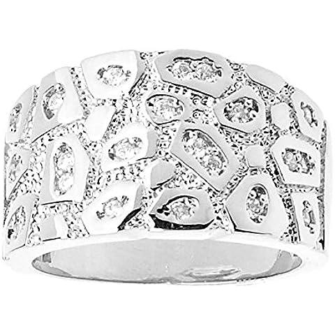 Heló hacia fuera Bling Hip Hop diseñador anillo - Nugget plata