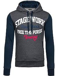 BOLF Herren Kapuzenpullover Sweatshirt Aufdruck Print Hoodie MIX