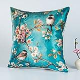 DW HCKK Silk Kissen Chinesische Vogel und Blume-Kissen Mahagoni Sofakissen Bett Kissen Büro-Kissen-F 45x45cm(18x18inch) VersionA