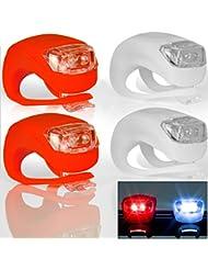 4er SET LED Fahrradlampen - rotes & weißes Licht - je 2 LEDs pro Lampe