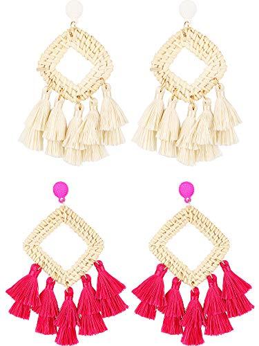 2 Stücke Böhmischen Tropfen Baumeln Ohrringe Rattan Quaste Ohrring Handmade Woven Ohrring für Damen Ohr Zubehör (Weiß, Rosa Rot) -