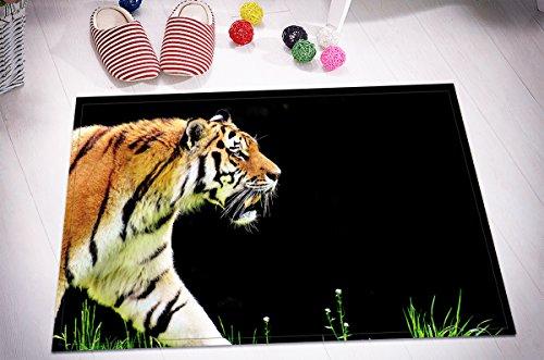 Alfombrilla de Baño Ultra Suave Antideslizante 60X40cm Tigre y pasto verde, imagen en negro Estera alfombra Para la decoración de la cocina del cuarto de baño