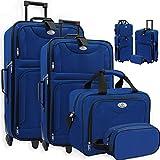 KESSER 4tlg Trolley Kofferset | Reisekoffer Set mit Rollen | Komplettes Business 4er Set | S M L XL | Netzfach | Rollen | Teleskopgriff | Koffer Reisetaschen Stoffkoffer | Handgepäck | Blau