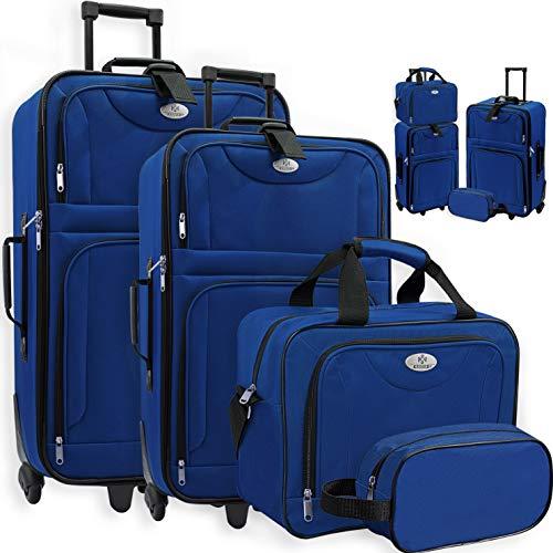 KESSER 4tlg Trolley Kofferset | Reisekoffer Set mit Rollen | Komplettes Business 4er Set | S M L XL | Netzfach | Rollen | Teleskopgriff | Koffer Reisetaschen...