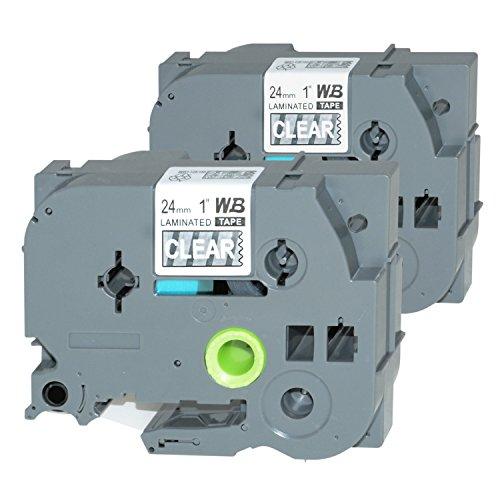 Logic-Seek 2 Schriftbänder kompatibel für Brother TZE-155 24mm/8m - Weiß auf Transparent P-Touch 2400 E 2420 PC 2430 PC 2450 CC DX 2500 PC 2730 VP 350 3600 550 7500 VP 7600 VP 9200 DX PC 9500
