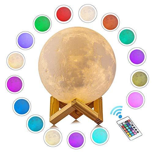 AXDNH Moon Light, Lustre de décoration de Noël 16 Couleurs Lampe de Nuit Impression 3D Lampe de Lune USB Charge Lune Lampe de Table Dames Cadeau d'anniversaire télécommande (avec Base en Bois)