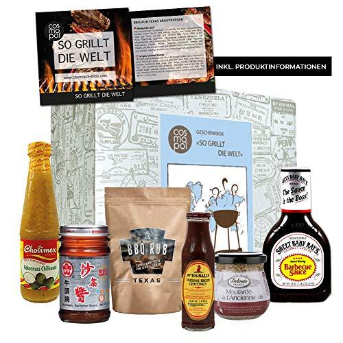 """Geschenkbox """"So grillt die Welt - Gourmet BBQ"""" + Barbecue + BBQ + Steak + Grillen + Wurst + Grillsaison + Fleisch + Fisch + Gemüse + Süß + Sauer + Scharf + Grillthermometer + Champagner Senf + Bone Doctor BBQ Sauce + Kiwa Gemüse Chips + Bieressig + MS Balls Chutney + Hachi Gewürz + Churrasco + Brasilien + USA + Japan + Ecuador + Italien"""