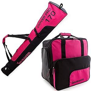 Brubaker Kombi Set Carver PRO – Limited Edition – Skisack und Skischuhtasche für 1 Paar Ski 170 cm oder 190 cm + Stöcke + Schuhe + Helm Pink Schwarz