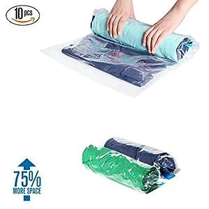 Sac sous Vide Pochette en Plastique Roll-Up Vacuum Bags iNeibo Set de 10 Housses de Rangement Compactable Gain de Place Sans Pompe 3 Tailles Sacs de Compression Étanche pour Voyage Stockage Vêtements