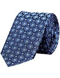 Tiekart Blue Floral Formal Skinny Microfiber Necktie for Men