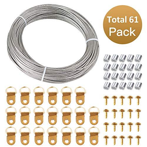 Fil à suspendre pour image, LINXIN câble en acier inoxydable pour toile, lampe, à miroir, 1,5 mm x 30m, capacité de 66 lb
