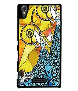 PrintVisa Designer Back Case Cover for Sony Xperia T3 (Blue Yellow Beauty Young Fashion Style Abstract Illustration Concept)