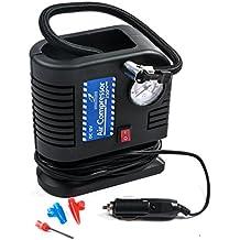Falcon Compressore d'aria portatile multiuso, 12V DC, gonfiatore pneumatici, 250PSI, con adattatori ugelli e accendisigari