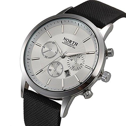 Fenkoo Herren Armbanduhr Quartz Kalender Leder Band Schwarz / Weiß / Blau Marke