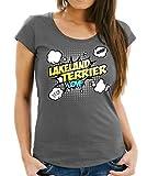 WOMEN T-Shirt - LAKELAND TERRIER britische Hunderasse Jagd Jagdhund - COMIC Cartoon Fun Siviwonder dark grey L -38