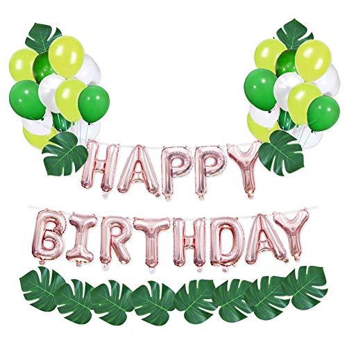 chenut Alles Gute zum Geburtstag Roségold Luftballons Wiederverwendbar Dekorativer Ballon mit Aluminiumfolie Brief Ballon, 12 Zoll Latexballons, Schildkrötenblatt Geburtstag Party Deko Kit - X Brief Ballon