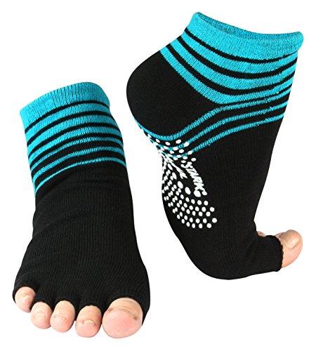 Yoga und Pilates Zehensocken mit Antirutsch-Sohle und offenen Zehen (turquoise)