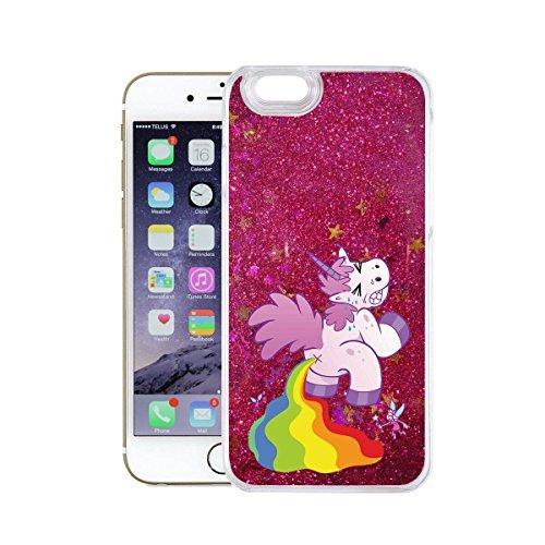 finoo | iPhone 6 / 6S Flüssige Liquid Pinke Glitzer Bling Bling Handy-Hülle | Rundum Silikon Schutz-hülle + Muster | Weicher TPU Bumper Case Cover | Einhorn Katze Einhorn groß