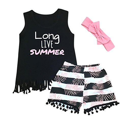 FeiliandaJJ Baby Girls Clothes Set, 3Pcs Toddler Girl Summer Cute Letter Printed Sleeveless Tassel T-Shirt Tops Striped Shorts Pants Set Outfits with Headband
