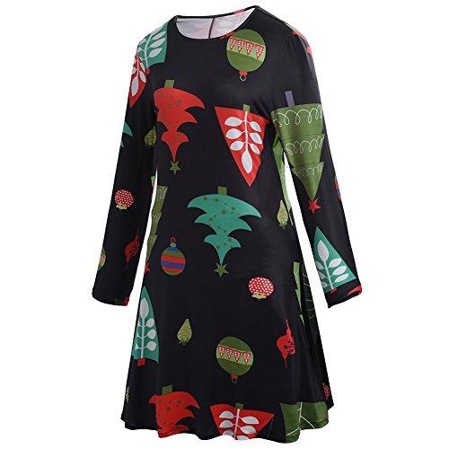 Frauen Mädchen Weihnachts Pullover Flared A Linie Kleid Bäume # 1