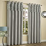 "Crushed Velvet Faux Silk Silver Grey Pair of Amalfi Fully Lined Eyelet Ring Top Curtains by Tony's Textiles (46"" Wide x 72"" Drop)"