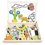 Puzzle magnetico legno, COOLJOY giocattolo di legno bambini con double face disegno cavalletto lavagna, apprendimento educativo per bambini 2 anni 3 anni 4 anni 5 anni - quasi 100 Pezzi - può attaccare sul frigorifero(Animale) immagine