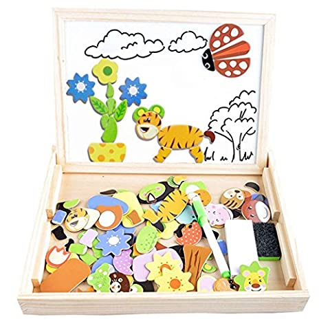 Cooljoy 100 Pieces Wooden Kids Toy Magnetic Board Puzzle Games, Double Face Jigsaw& Drawing Easel Chalkboard Educational Learning Toys for Kids(Animal