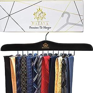 MATAYA Krawattenhalter – Krawattenbügel aus Holz – Premium Kleiderschrank Kleiderbügel Aufbewahrung für 24 Krawatten…