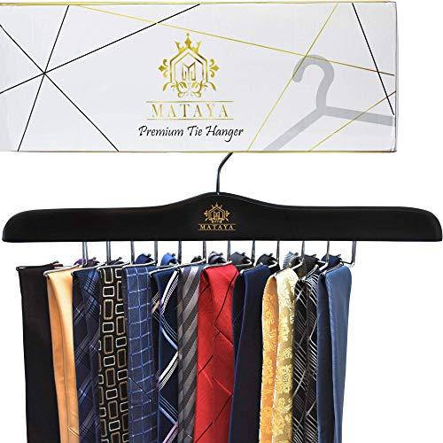 Tie Hanger (MATAYA Krawattenhalter - Krawattenbügel aus Holz - Premium Kleiderschrank Kleiderbügel Aufbewahrung für 24 Krawatten)