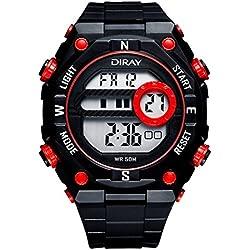 Unisex Sport Watch Multifunction Led Light Digital Waterproof Wristwatch(Red)