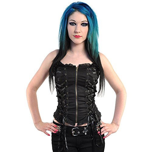 Spin Doctor by Hell Bunny Steampunk Corsetto Top (Nero) - Large