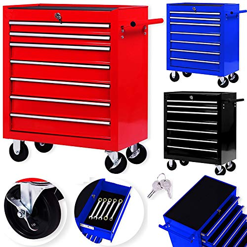 Masko Werkstattwagen - 7 Schubladen, rot  Abschließbar  Massives Metall | Mobiler Werkzeug-Wagen...