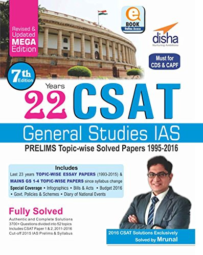315e85f9cf260a Buy 22 Years CSAT General Studies IAS Prelims Topic-wise Solved ...