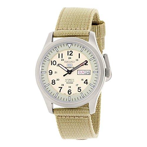 Seiko Herren-Armbanduhr 42mm Armband Nylon Beige Automatik Analog SNZG07J1