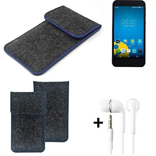 K-S-Trade® Filz Schutz Hülle Für Vestel 5000 Dual-SIM Schutzhülle Filztasche Pouch Tasche Handyhülle Filzhülle Dunkelgrau, Blauer Rand Rand + Kopfhörer