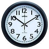 Unilux 100340855 Funk-Wanduhr Wave Schwarz 30,5 cm mit Sekundenzeiger