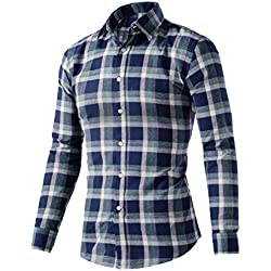 Hombres De Algodón Casual Camisa De Manga Larga De Tela Escocesa,NavyBlue-L