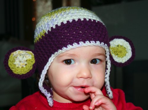 Crochet pattern cheeky monkey earflap hat includes 4 sizes from newborn to adult (Crochet animal hats Book 1) (English Edition) Knit Hat Earflap