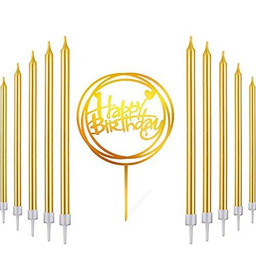 Tolyneil 30 Stück Lange Metallisch Geburtstagskerzen Kuchen Champagner Gold Geburtstagskuchen Kerzen Kuchenkerzen mit Haltern für Kinder und Erwachsene Geburtstag, Hochzeit Party Dekoration