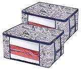 homyfort Set di 2 Pieghevole organizzatore Armadio - scatole Armadio in Tessuto - Sacchetto di Vestiti Bagagli per la memorizzazione di Abbigliamento, Piumini, Maniglie Resistenti, Lavanda, XLVR60M