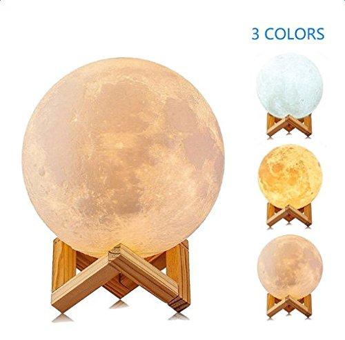 Mond Nachtlicht 3D Druck, Aolvo USB Wiederaufladbare Mondoberfläche Lampe, Smart Touch Control 3 Farben LED Nachtlicht, Dekorative Hauptlicht mit Holz Halter, Durchmesser 5,9 in
