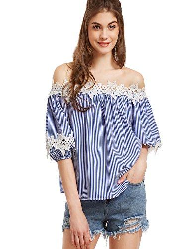 ROMWE Damen Gestreiftes Schulterfreies Top mit Blumen Applikation Bluse Oberteil Blau