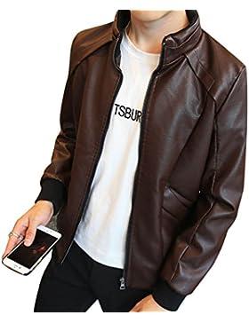 Hombre Bomber Chaqueta de Imitación De PU Cuero Manga Larga Chaquetas abrigo Con Cremallera