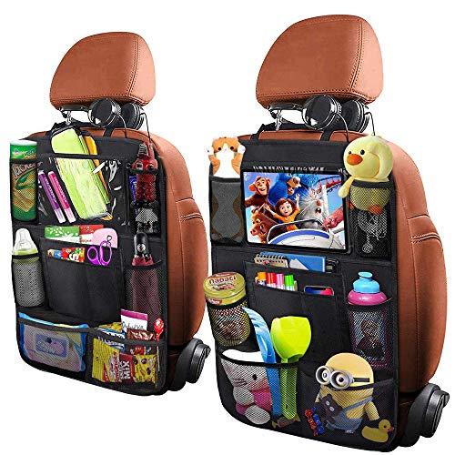 Auto Rückenlehnenschutz Rückenlehnen für Kinder Rücksitztasche 2 PCS Große Taschen und iPad/Tablet-Fach, Wasserdicht Autositzschoner, Kick-Matten-Schutz für Autositz