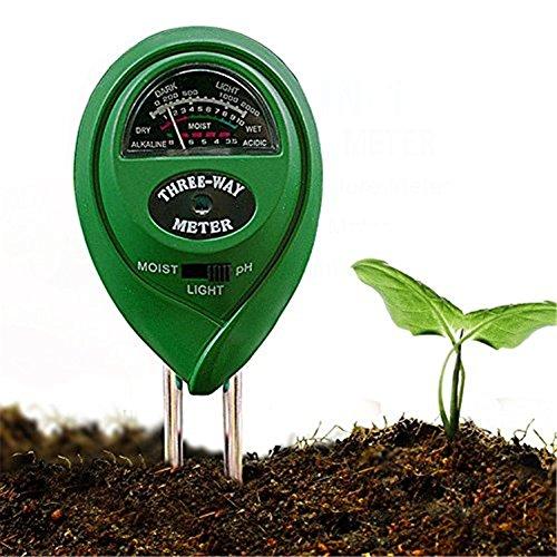 3-in-1 Garten Bodentester, Pflanze Tester, Feuchtigkeit PH Wert Licht Intensität Test für Garten, Bauernhof, Rasen, Indoor & Outdoor (keine Batterie benötigt)