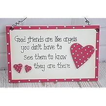 Buenos Amigos Son Como Ángeles–Placa de madera regalo para mejor amigo